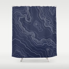 Navy topography map Shower Curtain