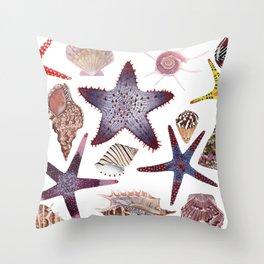 SEASHELLS & STARFISH (WHITE) Throw Pillow