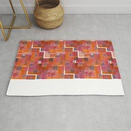 Orange geo and florals Rug
