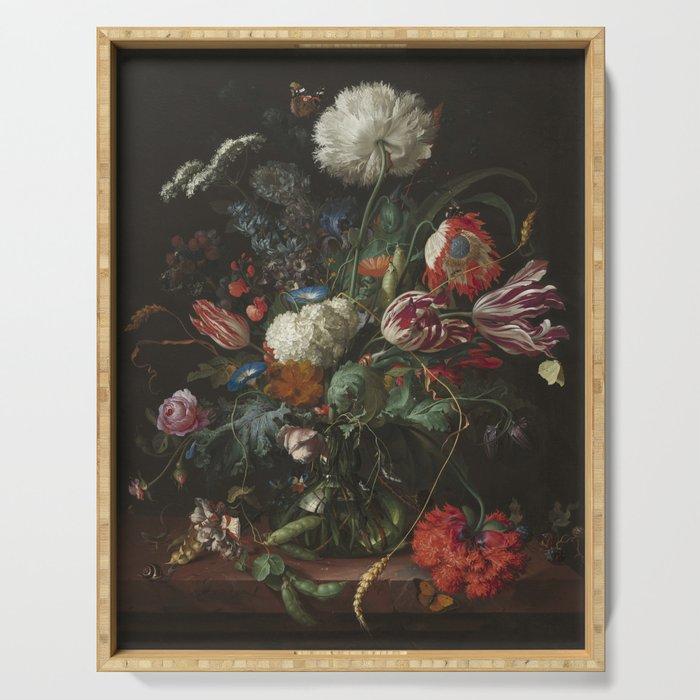Jan Davidsz de Heem - Vase of Flowers (c.1660) Serving Tray