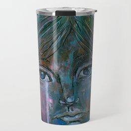 Sad portrait blue eyes Travel Mug