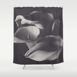 Calle lilies, photo, fine art, three flowers photography, still life, nature lover, Robert Mappletho Shower Curtain