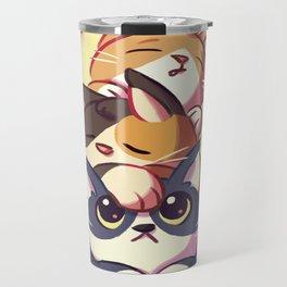 Cat Stack Doodle Travel Mug