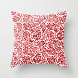 Paisley (Red & White Pattern) Throw Pillow