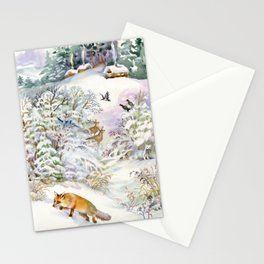 Watercolor Winter Scene Stationery Cards