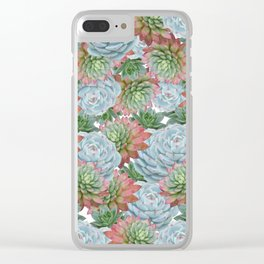 Succulents Pattern #2 #GreenVibes #decor #art #society6 Clear iPhone Case