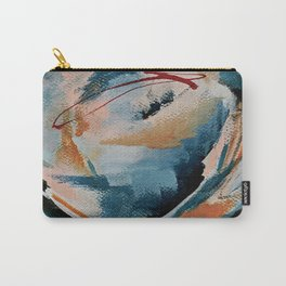 Drift 6: a bold mixed media piece in blues, brown, pink and red Carry-All Pouch