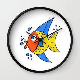 childishly drawn funny looking fish Wall Clock
