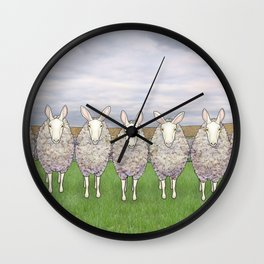 border leicesters in a line Wall Clock