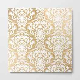 Gold swirls damask #2 Metal Print