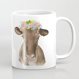 Brown Cow with Floral Wreath Coffee Mug