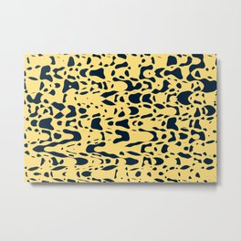 Sand beige and ink blue chaotic shapes, color pieces sailing in the space, inspiring simple print Metal Print