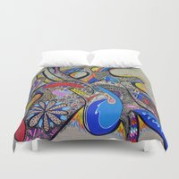 tatoo Duvet Covers featuring TAG SURF by Fabienne Riviere Patry