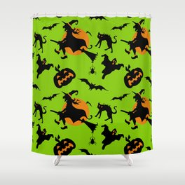 Neon green black orange halloween pumpkins cat witches pattern Shower Curtain