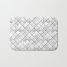 Faux Patchwork Quilting - White & Silver Pattern Bath Mat