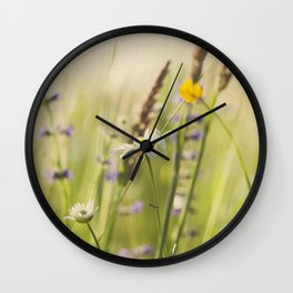 Country grass and wildflowers Wall Clock