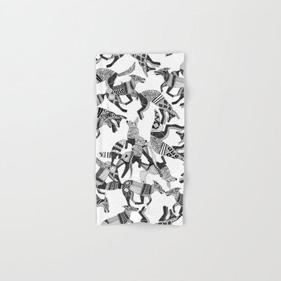 woodland fox party black white Hand & Bath Towel