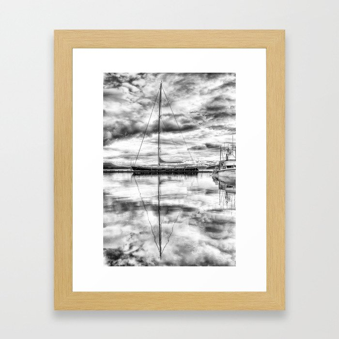 Silver Sailboat Framed Art Print