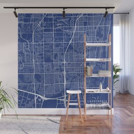 Fort Lauderdale Map, USA - Blue Wall Mural