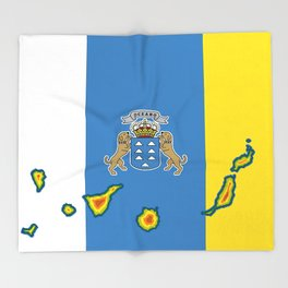 Canary Islands Flag with Map of the Canary Islands Islas Canarias Throw Blanket