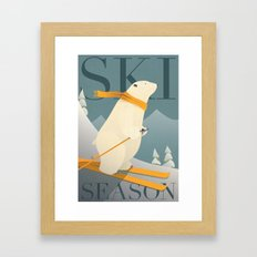 Ski Season - Polar Bear Framed Art Print
