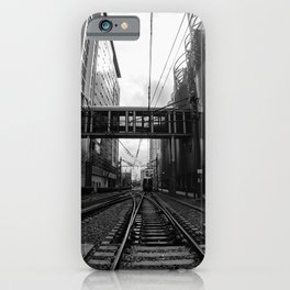 Lynx Blue Line 7th Street Black and White iPhone Case