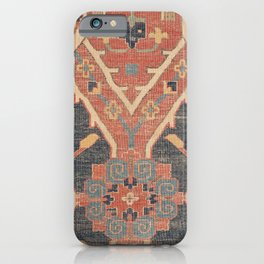 Geometric Leaves IV // 18th Century Distressed Red Blue Green Colorful Ornate Accent Rug Pattern iPhone Case