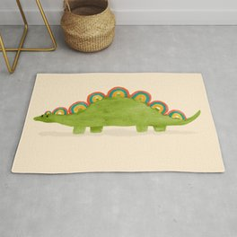 Rainbow colored dinosaur (stegosaurus) Rug