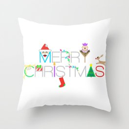 Merry Christmas Typography with Christmas Characters and Decorations Throw Pillow