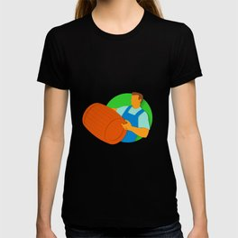 Winemaker Holding Barrel Paper Cut T-shirt