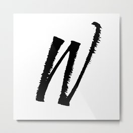 Letter W Ink Monogram Metal Print