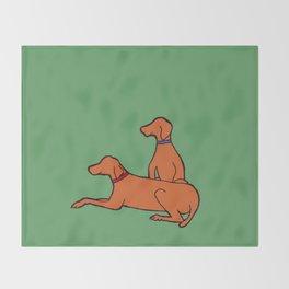 Vizslas on Green Throw Blanket