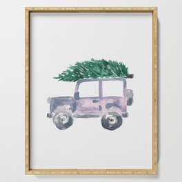 Christmas Tree on Gray Truck Serving Tray
