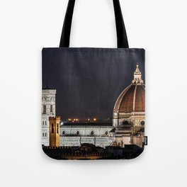 Night image of the Florence Cathedral Tote Bag