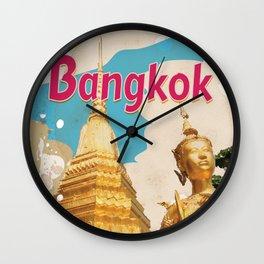 Bangkok Vintage Travel Poster Wall Clock