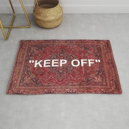 """""""keep off"""" antique persian rug - red Rug"""