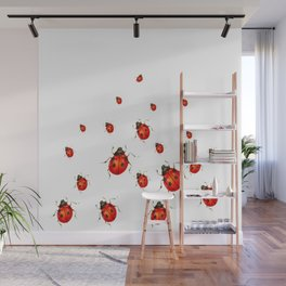 ABSTRACT RED LADY BUGS CRAWLING ON WHITE COLOR Wall Mural
