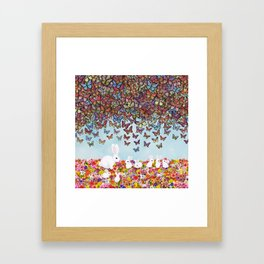 bunnies, flowers, and butterflies Framed Art Print