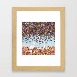 bunnies, flowers, and butterflies Framed Art Print