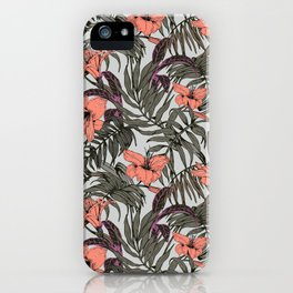 Delicate pink botanical jungle iPhone Case
