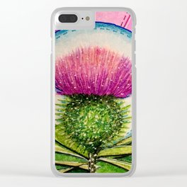 Scottish Thistle Clear iPhone Case