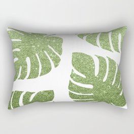 Glitter Monstera Leaves Rectangular Pillow