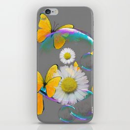 YELLOW BUTTERFLIES  DAISIES & SOAP BUBBLES GREY COLOR iPhone Skin