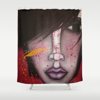 butcher billy Shower Curtains featuring BILLY by Sandra Mucciardi