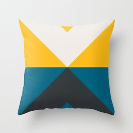 Split X Teal & Yellow Throw Pillow