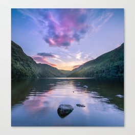 Wicklow Glendalough sunset over lake Canvas Print