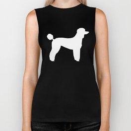 Poodle silhouette grey and white square minimal modern dog art pet portrait dog breeds Biker Tank