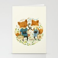inspirational Stationery Cards featuring Fox Friends by Teagan White