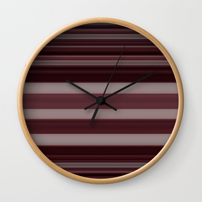 Plum Stripe Wall Clock