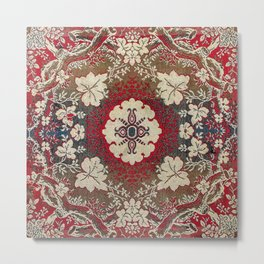 Botanical Embroidery III // Flowery Colorful Red Blue Green Yellow Tan Ornate Accent Rug Pattern Metal Print